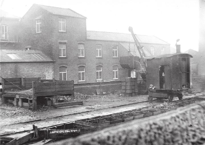 Radcliffe wharf on the Manchester, Bolton & Bury Canal where, in the 1940s, around 12,000 tons of coal were delivered annually by boats loaded at Ladyshore Colliery.